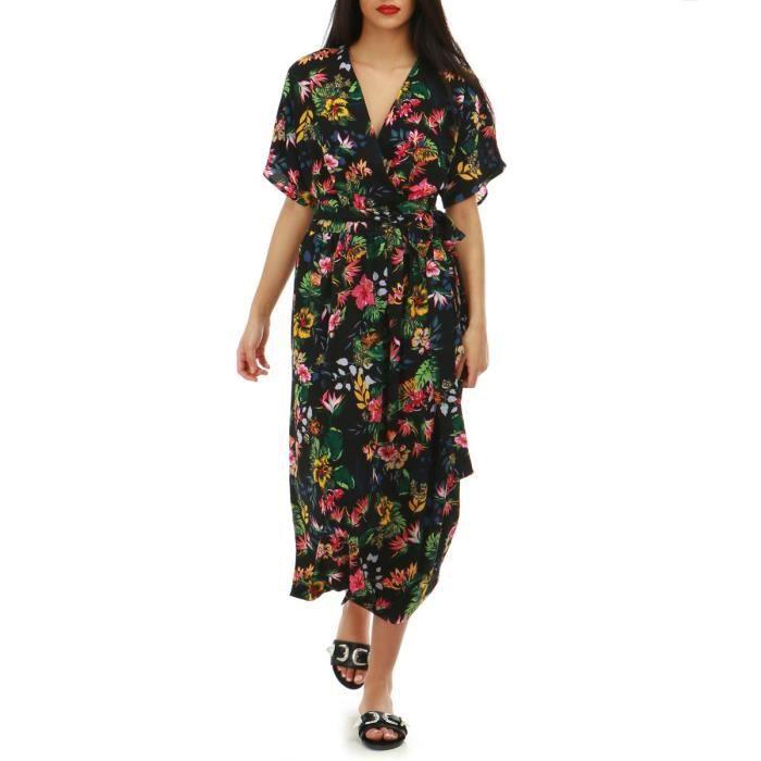 44c95233d89b1 Robe longue noire cache-coeur imprimé floral-S M Noir Noir - Achat ...