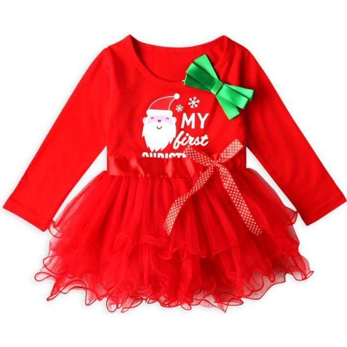 93fdeb27be173 0-4 Ans Bébé Fille Enfant Robe Noël Tutu en Mousseline de Soie Manches  Longues Père Noël Imprimé