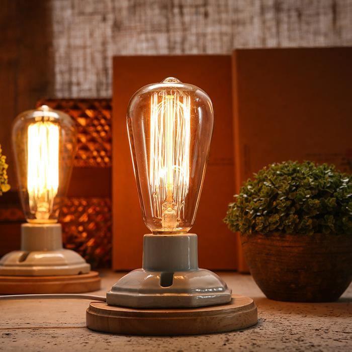 Lampe de table industrielle Lampe Edison Table en céramique en ...