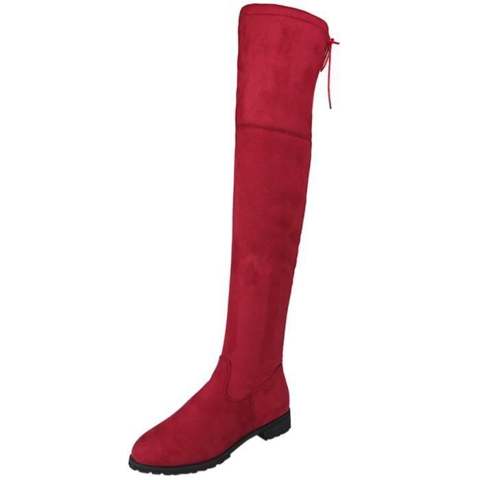 Napoulen®Dames boucle mince haut sur le genou Trim plat bottes pour femme Rouge-XMM71009532RD