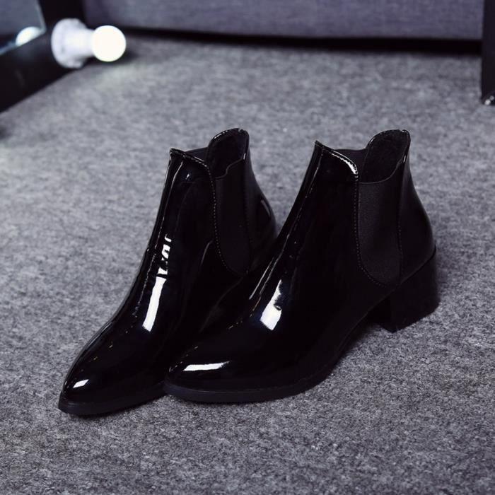xz Bottes Talon 4118 Pointu En Lastique Brevets Femmes Mode Cuir Bas Noir 7tvSUq