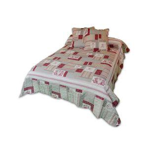 SOLEIL D'OCRE Couvre lit Boutis Patricia 240x260cm avec 2 taies d'oreiller