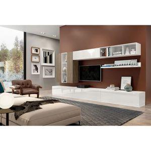 ETAGÈRE MURALE Composition meuble TV MAX011 Blanc Laqué et Orme S