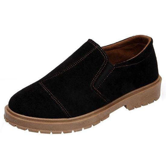 Femmes Low Ankle Trim Round Toe Leather Boots Casual Slip-on Martin Shoes Noir_XZ*6509 Noir Noir - Achat / Vente slip-on