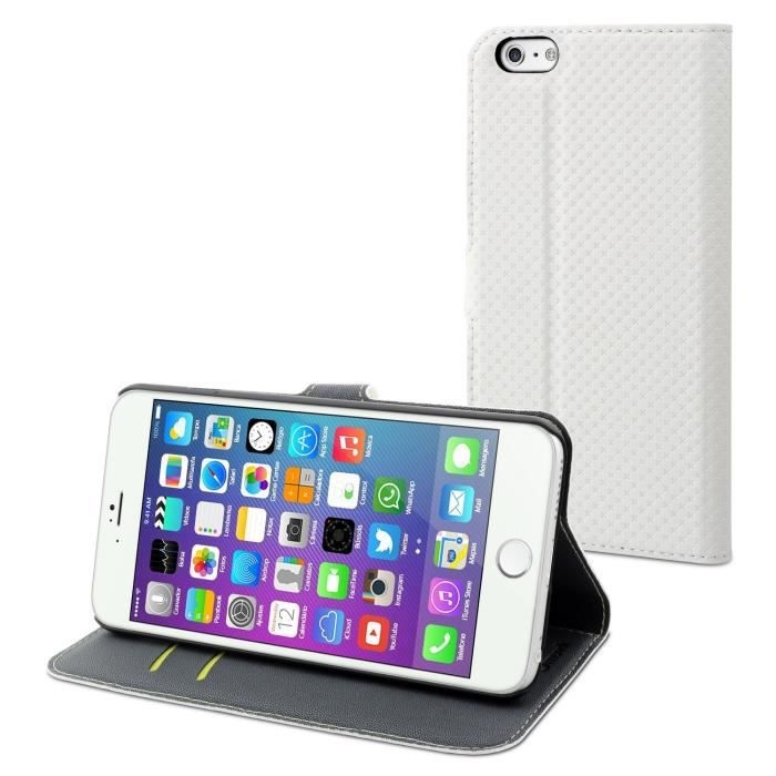 MUVIT Wallet Folio Etui - Rangement carte - Blanc - Pour Apple Iphone 6, 6s +