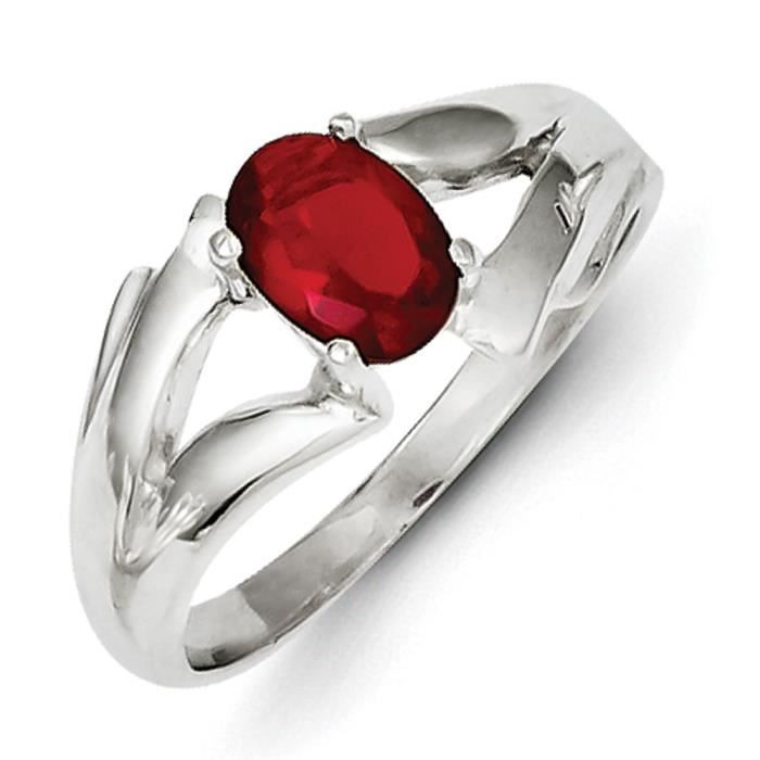 Argent Sterling CZ ovale Rouge-Taille 1/2–N