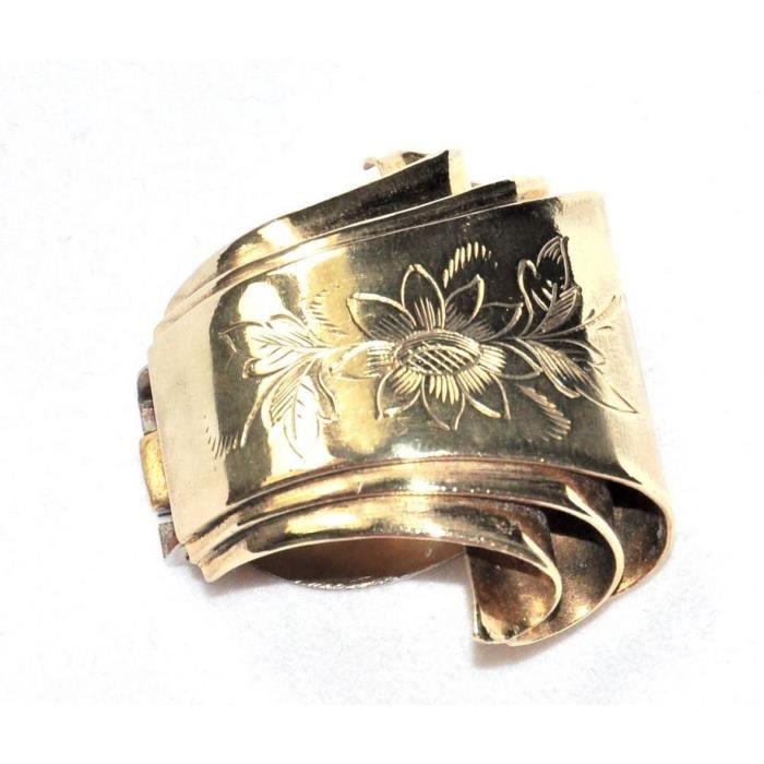 belle et rare Pince clip de revers ancienne art déco laiton ciselé bijou