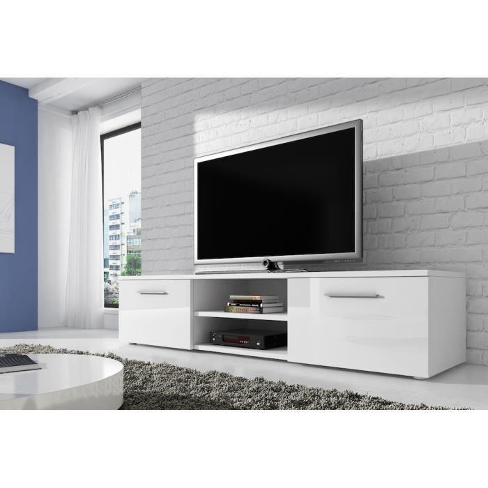 VEGAS Meuble TV contemporain décor Blanc 150 cm Achat Vente