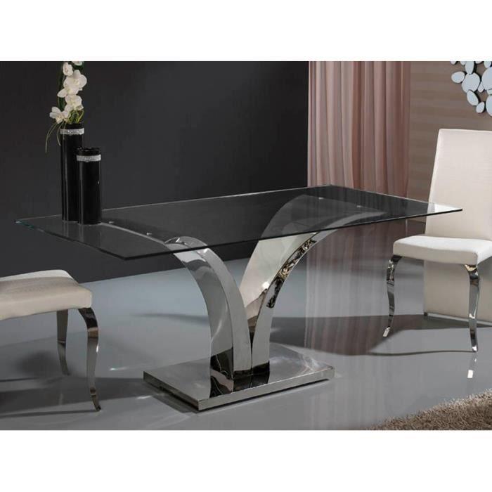 Table design de salle a manger rectangulaire en verre et acier 180 ...