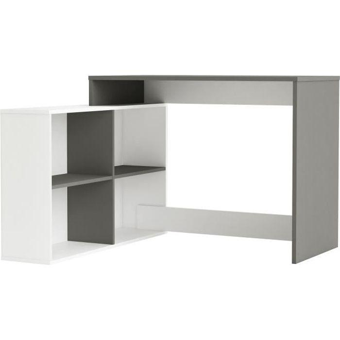 BUREAU  NAGANO Bureau d'angle contemporain blanc et gris g