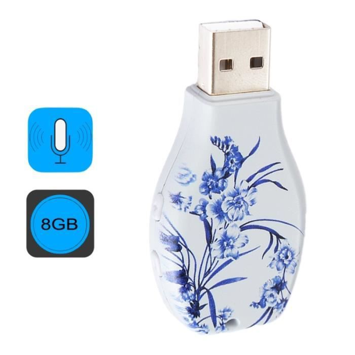 (#63) Flowers Blue And White Porcelain Pattern Portable Audio Voice Recorder Usb Drive, 8gb, Support Music Playback