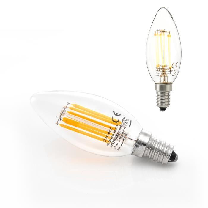 5 LED-Bougies-Lampes e14 blanc chaud Ampoules Ampoule e-14 230v Ampoule 400lm