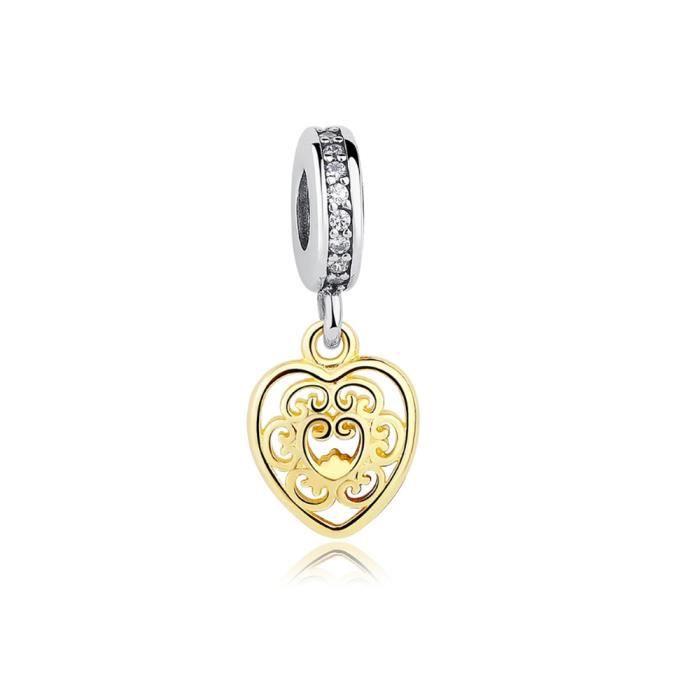 Charms Bead Pendant Coeur en Argent 925 Plaqué or jaune - Blue Pearls