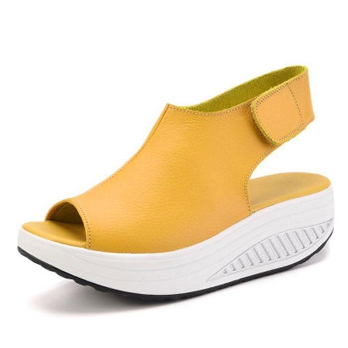 Couleur Talons Compensées Sandales Été Jaune Chaussures Femme De xeBCod
