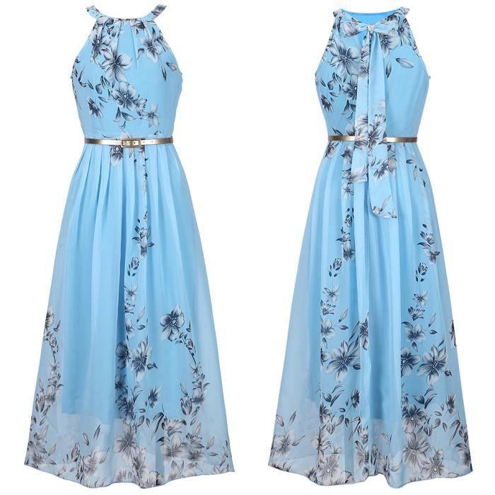 Channy® Robe Maxi Mousseline de Soie Longue Femme Mode Robe de Soirée Fleurie Imprimée - bleu