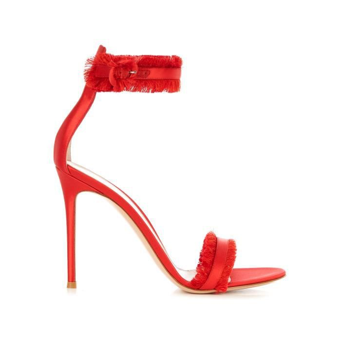 GIANVITO ROSSI FEMME CARIBERED ROUGE SUÈDE SANDALES