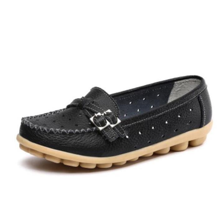 Moccasin femme 2017 ete nouvelle marque de luxe Pour femmes en cuir Chaussures Haut qualité Antidérapant Grande Taille 35