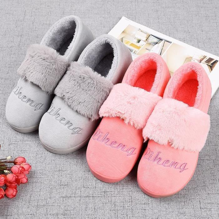 fourrure chaussures casual pantoufles maison forme d'hiver artificielle plates plate dames chaud confortables de chaussures douce HrFHq7