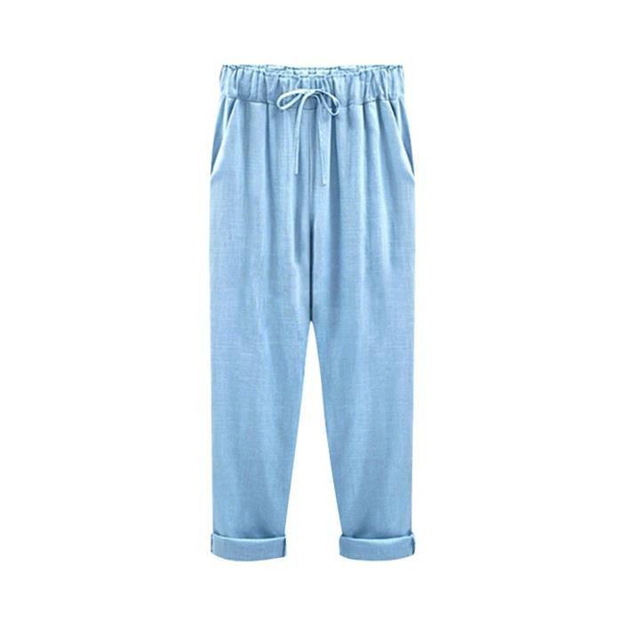16f73a206f0d9 Large taille élastique Femmes Casual Relax Pantalons capris coton lin  Pantacourt 2EHEHW Taille-30