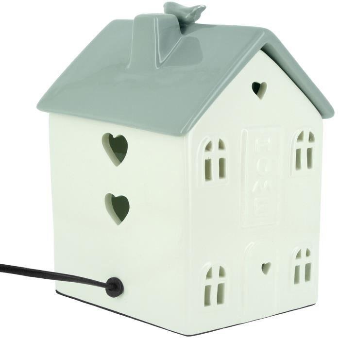 Céramique Poser Maison Blanc A Sweet Home Lampe Design En OkuiPXZ
