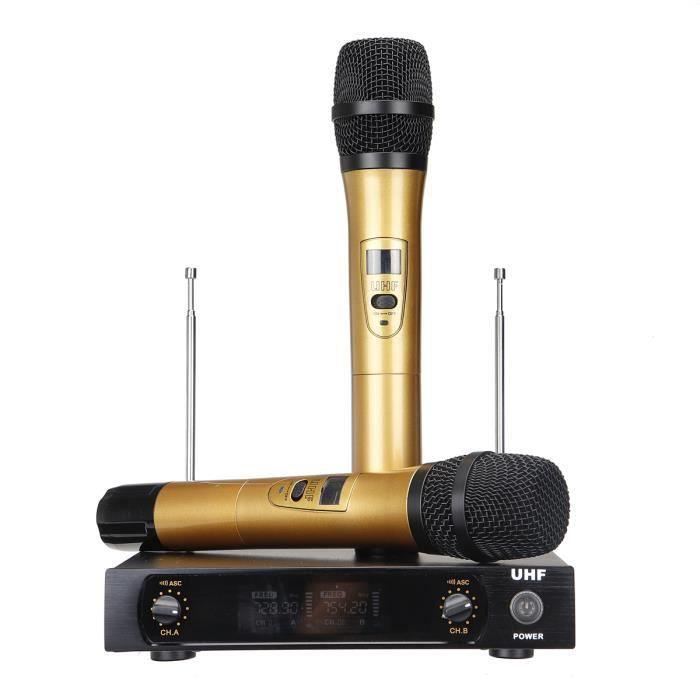 Tempsa Uhf Sans Fil Microphone Récepteur Système Double Micro À Main Scène Ktv Karaoké Or