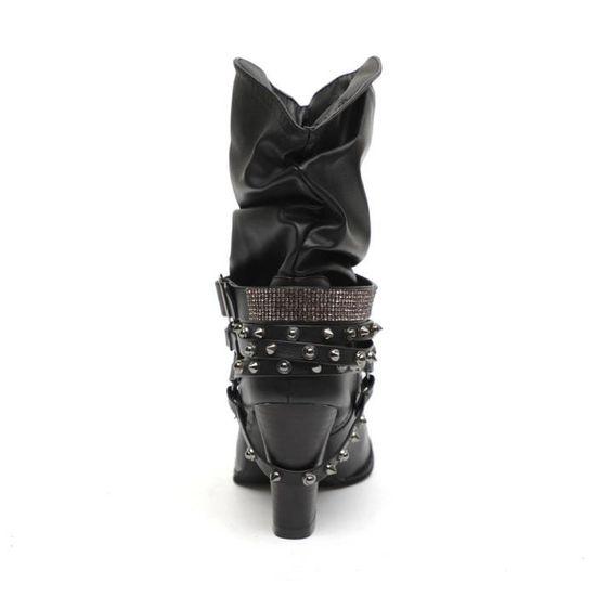 Xym80830905bk36 Chaussures Lafayestore®femme Bottes Cheville Rétro Talon Hiver Automne Martin Shiny Demi Noir Rivets SSP6nz