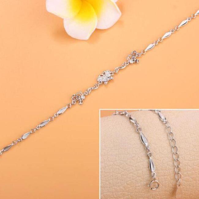 Bracelet Mode créative fleur papillon bracelet en argent sterling