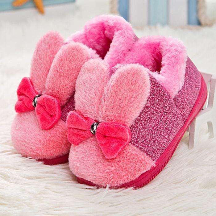 BOTTE Bébé Laine Bowknot Caoutchouc Semelle Souple Bottes de Neige Doux Berceau Chaussures Bottes Tout-Petits@RougeHM