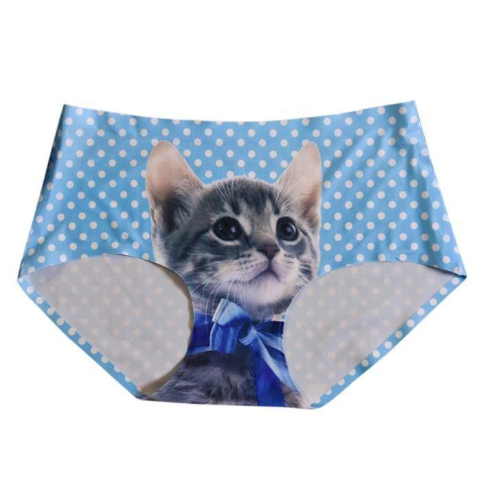Sous Slips Sans Femmes Couture Imprimé Culottes Et vêtements Cat Lingerie bleu Fille Bow 8ZZwxgEz