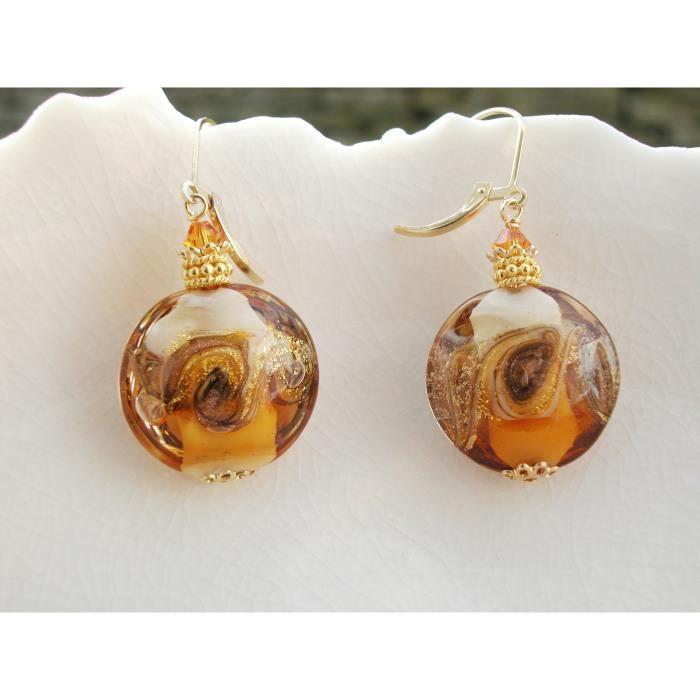 Ambre Femmes Levier dos Boucles doreilles en verre de Murano VJL9X