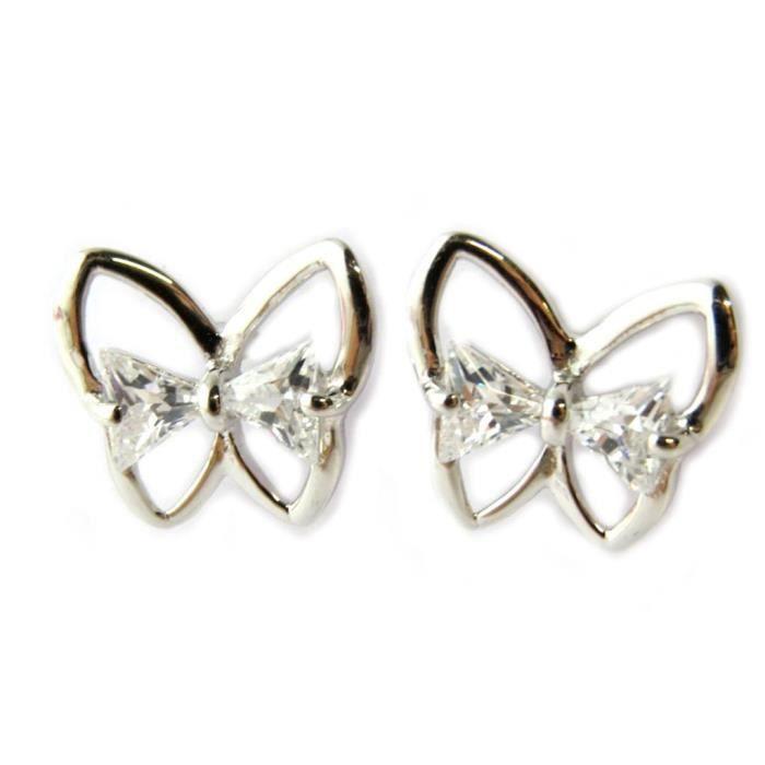 Boucles Argent Papillons (rhodié)- Les Trésors De Lily [N6899]