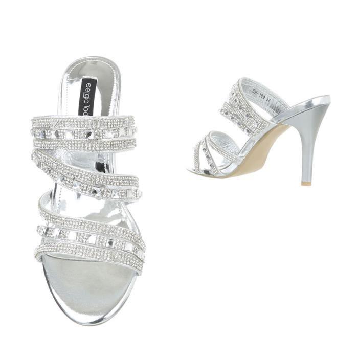 femme sandale chaussure sandalette mule or WJbwje0