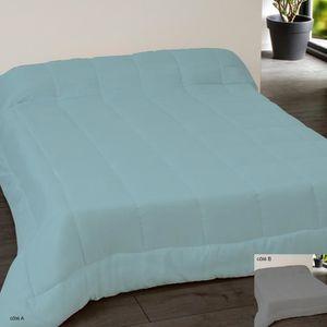 COUETTE Couette bicolore 220x240 bleu et gris foncé Bleu,