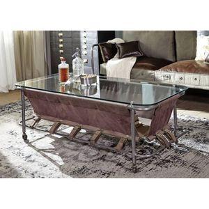 TABLE BASSE Table basse vitrée 130x60cm - Toile canvas coton -