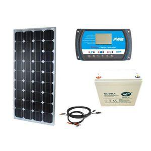 KIT PHOTOVOLTAIQUE Kit Solaire 100W 12V Autonome-Stockage Batterie 60