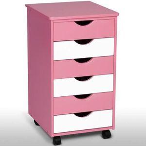 COMMODE DE CHAMBRE Commode enfant à roulettes en 2 couleurs rose