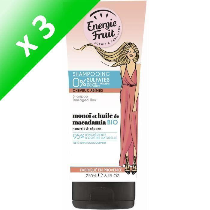 ENERGIE FRUIT Shampoing pour cheveux abîmés - Monoï et Huile de Macadamia - 250 ml (Lot de 3)