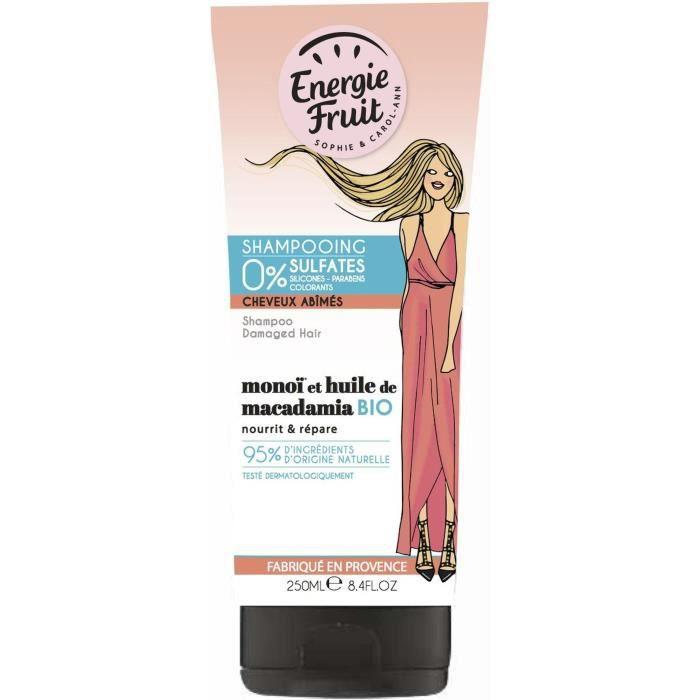 ENERGIE FRUIT Shampoing pour cheveux abîmés MONOï et Huile de Macadamia - 250 ml