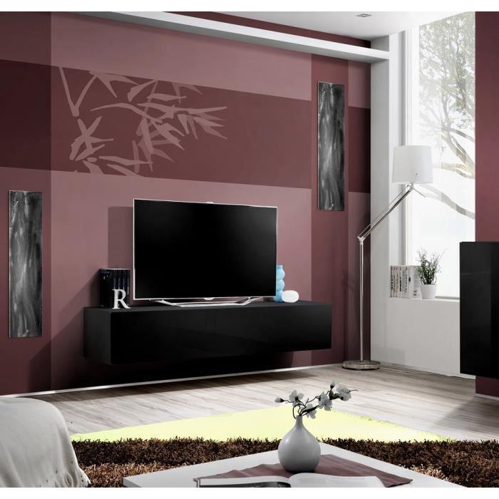 Grand Meuble Tv Fly à Suspendre 160x30x40cm Noir De Haute