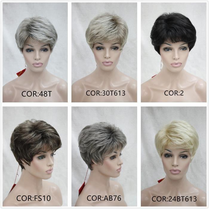 24BT613 # femelle perruque noir blanc perruque