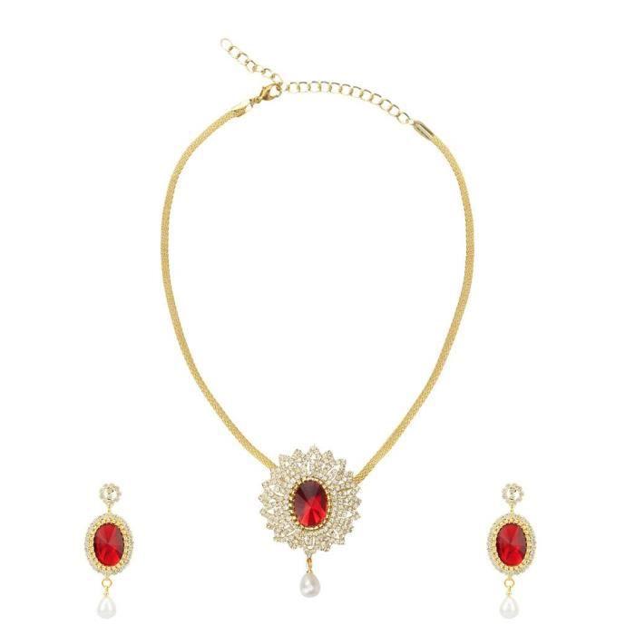 Jwelleries mariage des femmes en alliage métallique multicouleur Ensemble de bijoux avec pendentif et boucles doreilles pourXN8DO