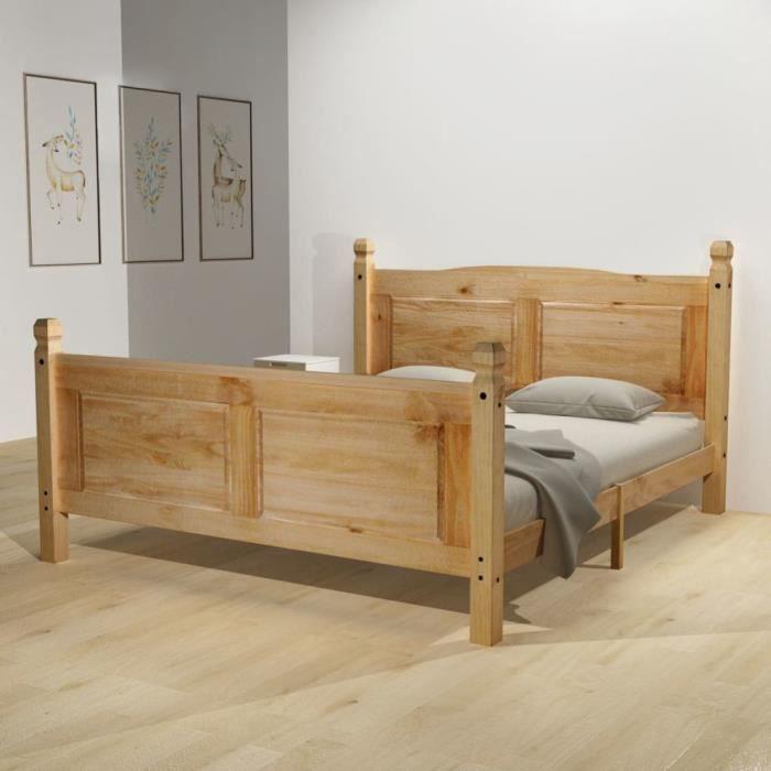 cadre de lit bois 160x200 achat vente pas cher. Black Bedroom Furniture Sets. Home Design Ideas