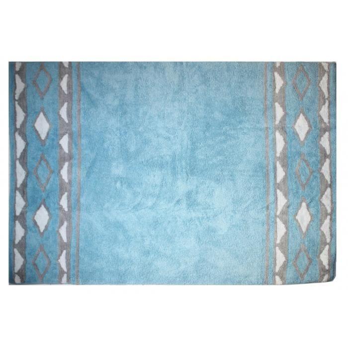 tapis chambre enfant et bb totem indien bleu et gris lavable 120x160 cm pour garon - Tapis Chambre Bebe Garcon