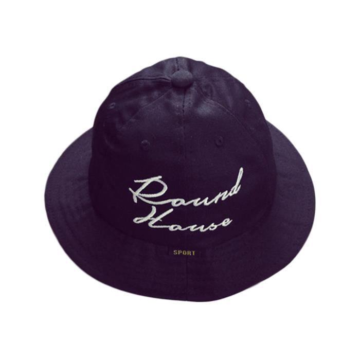 Chapeau de Soleil Bob Hat Anti-UV Protection Bonnet en Coton Vague Eté  Casquette Panama Plage Noir Camping bedfd514391