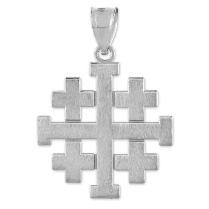 Collier Pendentif14 ct Or 585/1000mat Blanc Jérusalem Croisés Croix