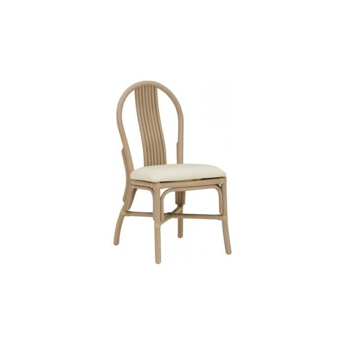 CHAISE Chaise Bistrot Rotin Taupe Assise Tapisse
