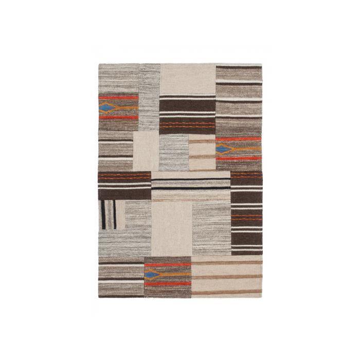 Tapis en laine beige marron et orange 80 x 150cm contemporain tissé ...