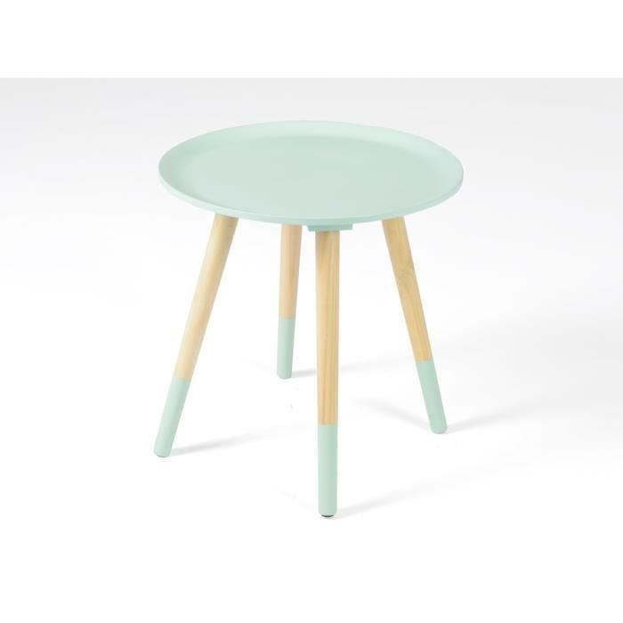 table dappoint table dappoint ronde en bois bicolore diamtre 40 - Table D Appoint Ronde