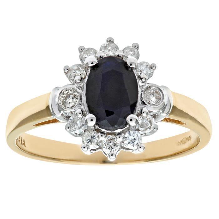 Revoni Bague Saphir et Diamant Or Jaune 375° FemmePoids du diamant : 0.28 ct - CD-PR02547YSA-R