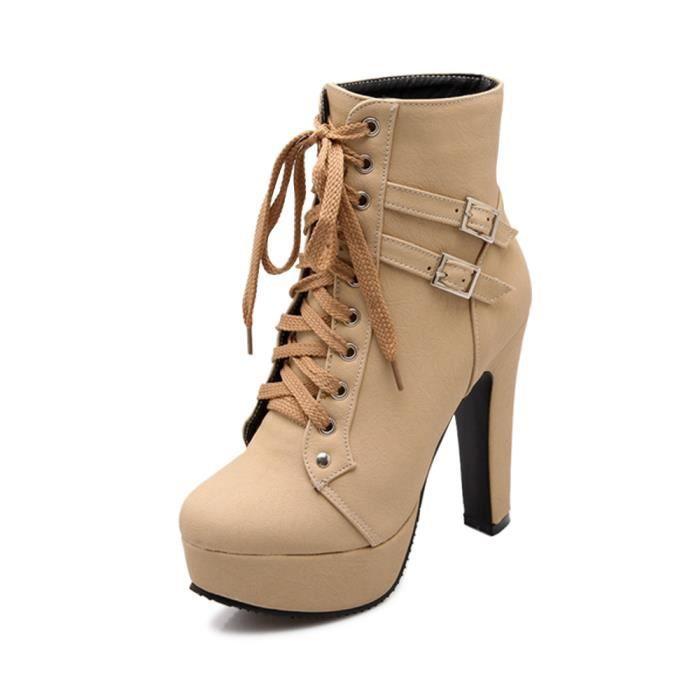 277e29de967553 Bottines Femmes Chaussures Talon Aiguille Plateforme Épais Boots ...